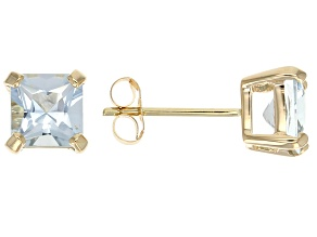Blue Aquamarine 14k Yellow Gold Stud Earrings 1.50ctw