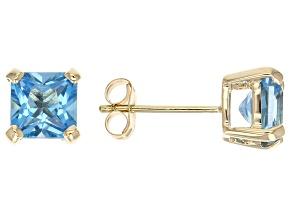 Swiss Blue Topaz 14k Yellow Gold Stud Earrings 2.29ctw
