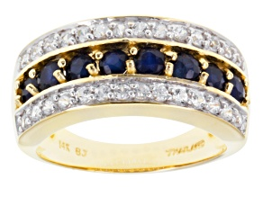 Blue Sapphire 14k Yellow Gold Band Ring 1.55ctw