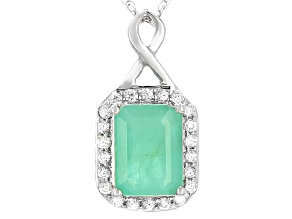 Green Emerald 10k White Gold Pendant With Chain 1.92ctw
