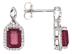 Mahaleo Ruby 10k White Gold Earrings 3.29ctw