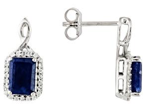 Blue Sapphire 10k White Gold Earrings 3.10ctw