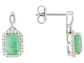 Green Emerald 10k White Gold Earrings 2.72ctw