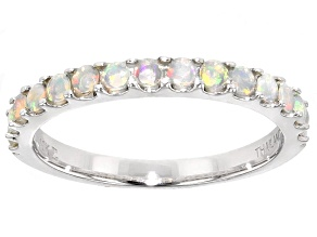 Ethiopian Opal 10k White Gold Band Ring .22ctw