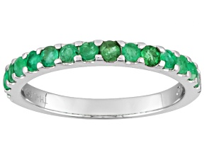 Green Emerald 10k White Gold Band Ring .43ctw