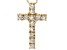 White Zircon 14k Yellow Gold Cross Pendant With Chain .60ctw