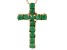 Green Emerald 14k Yellow Gold Cross Pendant With Chain .40ctw