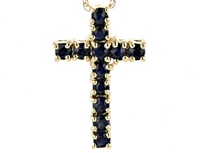 Blue Sapphire 14k Yellow Gold Cross Pendant With Chain .45ctw