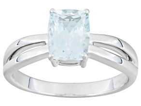 Blue Aquamarine 14k White Gold Ring .85ct