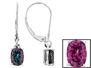 Color Change Lab Alexandrite 14k White Gold Earrings 1.70ctw