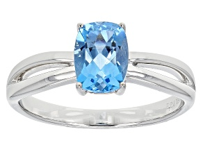 Swiss Blue Topaz 14k White Gold Ring 1.39ct
