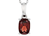 Red Garnet 14k White Gold Pendant With Chain .94ct