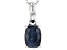 Blue Sapphire 14k White Gold Pendant With Chain 1.23ct