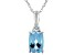 Swiss Blue Topaz 14k White Gold Pendant With Chain .81ct