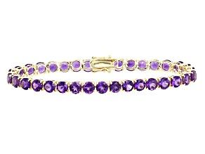 Purple Amethyst 14k Yellow Gold Tennis Bracelet 12.06ctw
