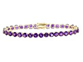Purple Amethyst 14k Yellow Gold Tennis Bracelet 12.06ctw