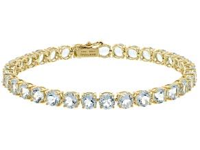 Blue Aquamarine 14k Yellow Gold Tennis Bracelet 12.62ctw