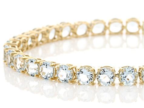 Blue Aquamarine 14k Yellow Gold Tennis Bracelet 12 62ctw