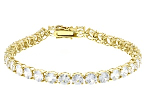 White Zircon 14k Yellow Gold Tennis Bracelet 16.93ctw