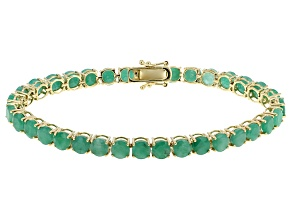 Green Emerald 14k Yellow Gold Bracelet 15.73ctw