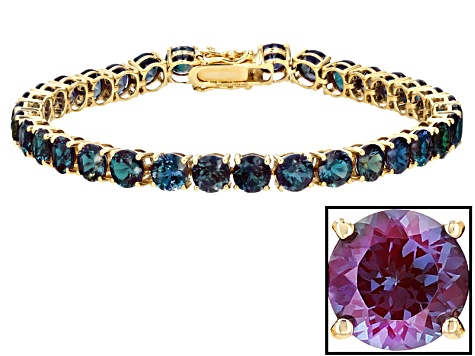 Color Change Lab Created Alexandrite 14k Gold Tennis Bracelet 15.98ctw