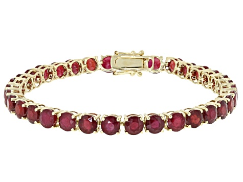Mahaleo Ruby 14k Yellow Gold Tennis Bracelet 21.03ctw
