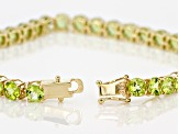 Green Peridot 14k Yellow Gold Tennis Bracelet 16.83ctw