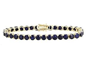 Blue Sapphire 14k Yellow Gold Tennis Bracelet 19.63ctw