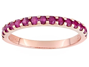 Red Ruby 10k Rose Gold Ring .76ctw