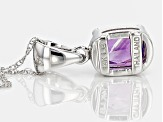 Purple Amethyst 14k White Gold Pendant With Chain .68ct