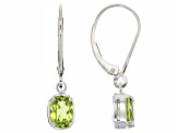 Green Peridot 14k White Gold Earrings 1.56ctw