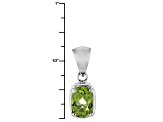 Green Peridot 14k White Gold Pendant With Chain .78ct