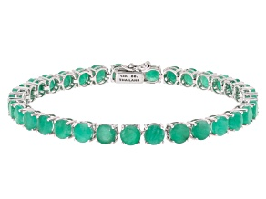 Green Emerald 14k White Gold Tennis Bracelet 14.02ctw