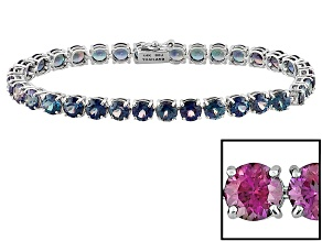 Color Change Lab Created Alexandrite 14k White Gold Tennis Bracelet 15.98ctw