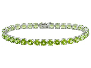 Green Peridot 14k White Gold Tennis Bracelet 16.83ctw