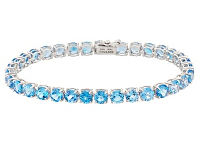 Swiss Blue Topaz 14k White Gold Tennis Bracelet 17.95ctw