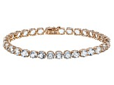 Blue Brazilian Aquamarine 14k Rose Gold Tennis Bracelet 12.62ctw