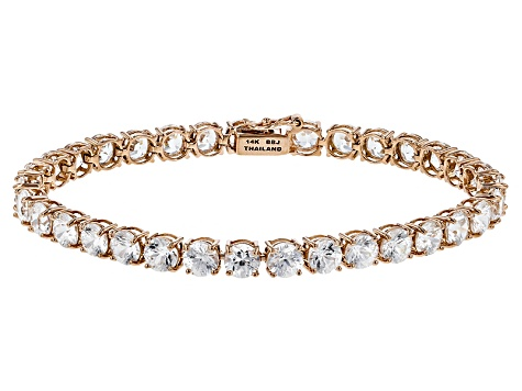 White Zircon 14k Rose Gold Tennis Bracelet 16.93ctw