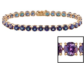 Color Change Lab Created Alexandrite 14k Rose Gold Bracelet 15.98ctw