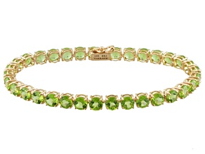 Green Peridot 14k Rose Gold Tennis Bracelet 16.83ctw