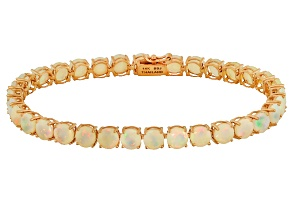 Ethiopian Opal 14k Rose Gold Tennis Bracelet 7.29ctw