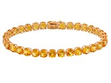 Yellow Citrine 14k Rose Gold Tennis Bracelet 13.18ctw