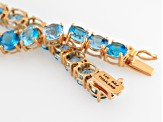 Swiss Blue Topaz 14k Rose Gold Tennis Bracelet 17.95ctw