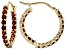Red Garnet 14k Yellow Gold in/Out Hoop Earrings 1.51ctw