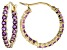 Purple Amethyst 14k Yellow Gold Inside Outside Hoop Earrings 1.29ctw
