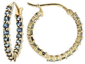 Blue Lab Created Alexandrite 14k Gold in-Out Hoop Earrings 1.29ctw