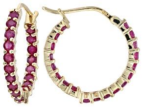 Mahaleo Ruby 14k Yellow Gold Inside Outside Hoop Earrings 1.61ctw