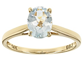 Blue Aquamarine 14k Yellow Gold Ring .85ct