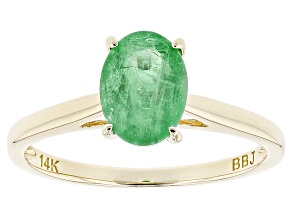 Green Zambian Emerald 14k Yellow Gold Ring .93ct