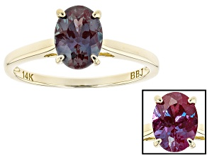 Blue Color Change Lab Alexandrite 14k Yellow Gold Ring 1.23ct